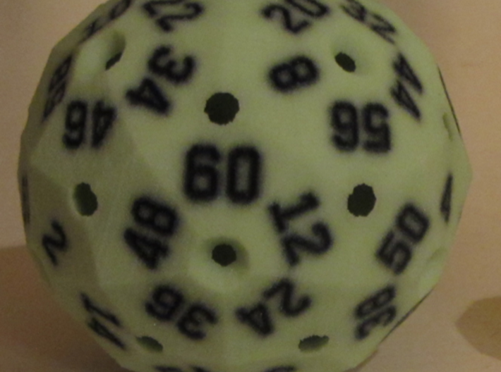 Hollow Green D60 3d printed In Full-Color Sandstone.