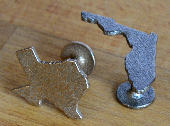 Cufflinks - Choose Any State (Wisconsin) 3d printed Stainless Steel and Polished Nickel Steel