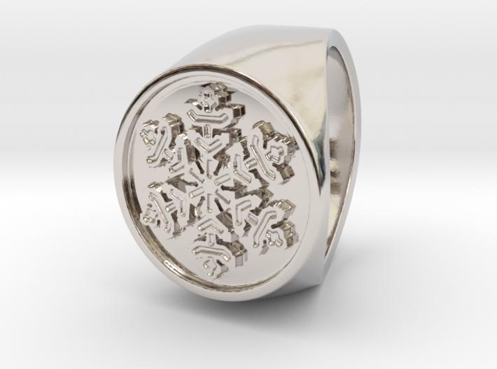 Snowflake - Signet Ring 3d printed Snowflake - US 6 - Signet Ring