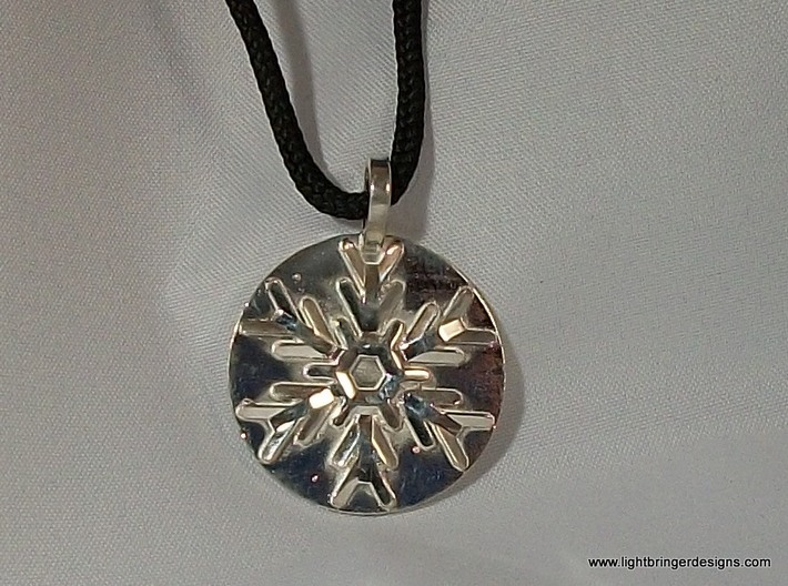 Snowflake Pendant (with base) 3d printed Snowflake Necklace Pendant