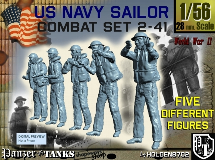 1-56 US Navy Sailors Combat SET 2-41 3d printed