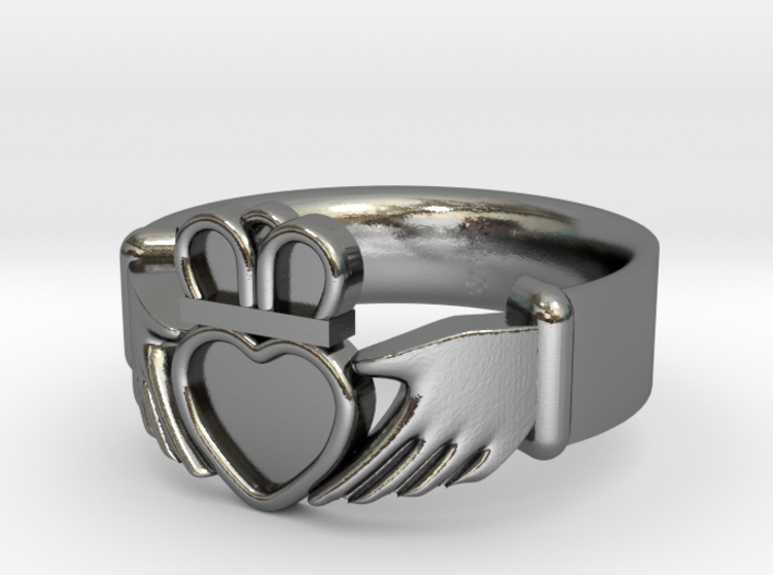 Claddagh With Gems Size 7 - NO GEMS 3d printed