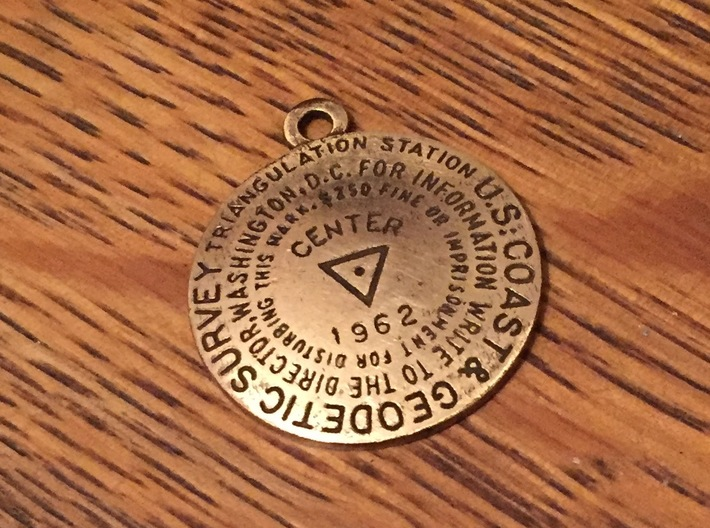 Center of the Nation Benchmark Replica Keychain 3d printed Raw Bronze with added patina and light polishing