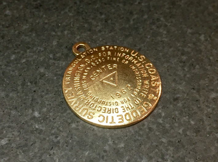 Center of the Nation Benchmark Replica Keychain 3d printed Raw Bronze as received from Shapeways