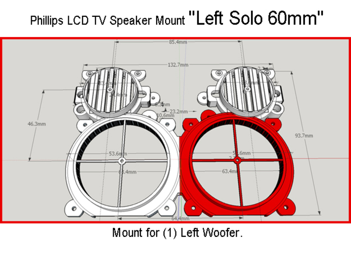 Phillips LCD TV 3'' Woofer Spacer 3d printed