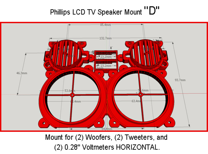"Phillips LCD TV Speaker Mount ""Double Right Half"" 3d printed"