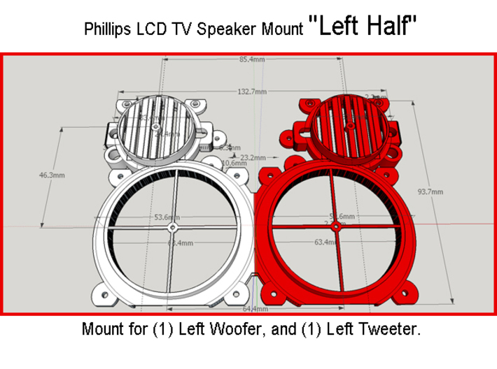 "Phillips LCD TV Speaker Mount ""A"" 3d printed"