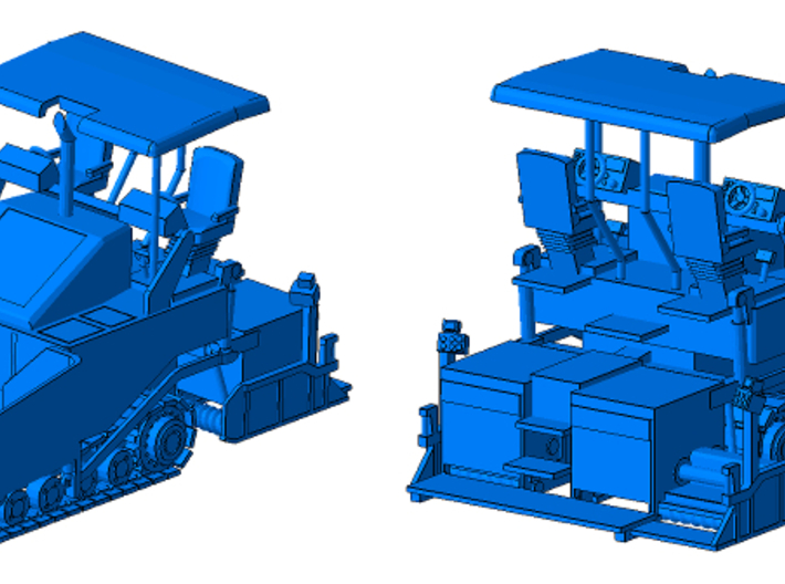 1/87th Tracked Asphalt Paver 3d printed Shown with optional Roof!