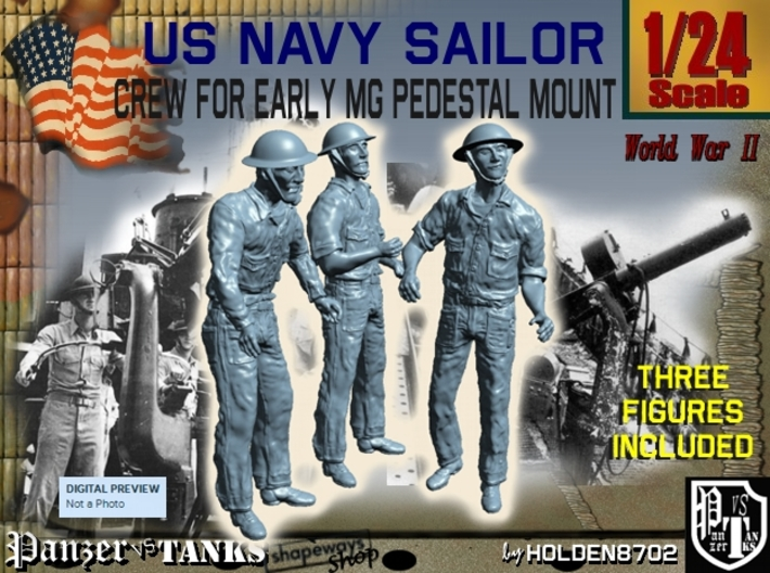 1-24 USN Early MG Mount Crew Set1 3d printed