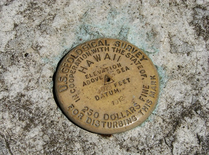 Hawaii Volcanoes National Park Benchmark Keychain 3d printed Photo of actual benchmark located at Hawaii Volcanoes National Park