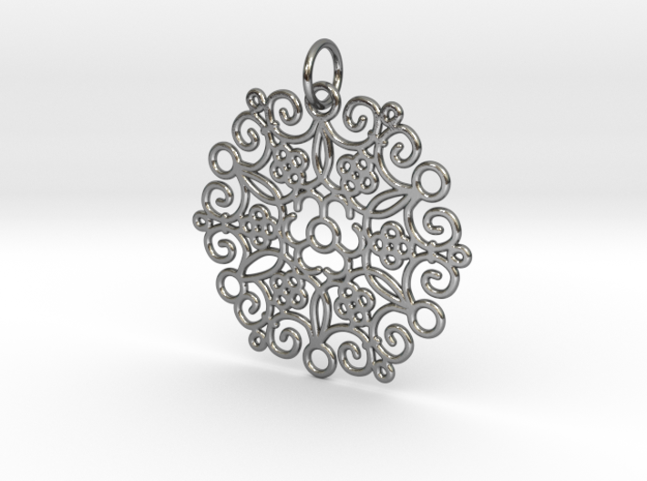 Round Cast Pattern Pendant 3d printed