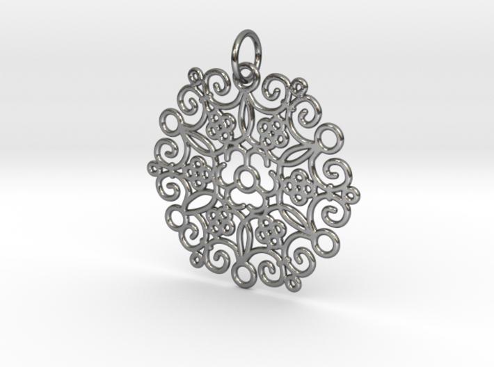 Round Cast Pattern Pendant 3d printed
