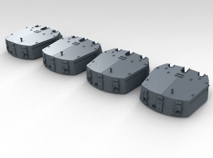 "1/700 RN Triple 6"" MKXXIII Turrets No Barrels (4)  3d printed 3d render showing product detail"