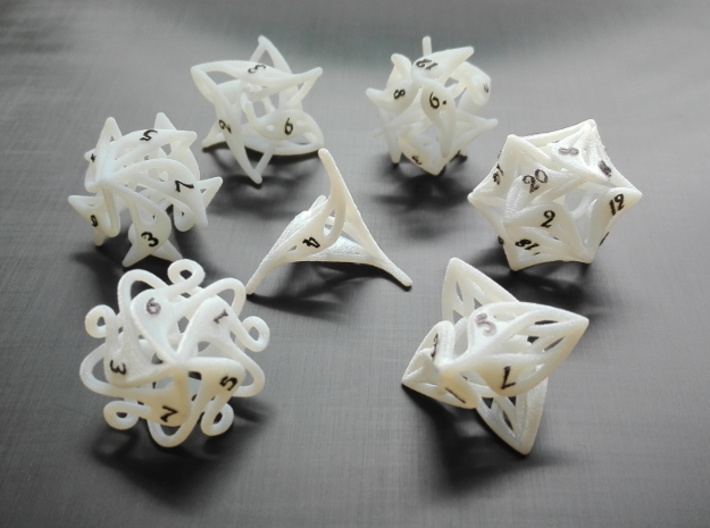 Curlicue 20-Sided Dice 3d printed Whole set with painted numbers made from acrylic plastic.