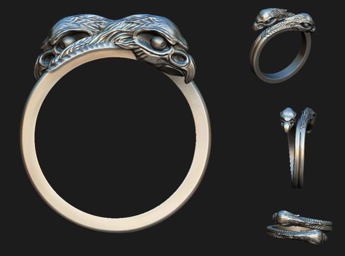 Ring double Eagles // Size US 10 3/4 3d printed