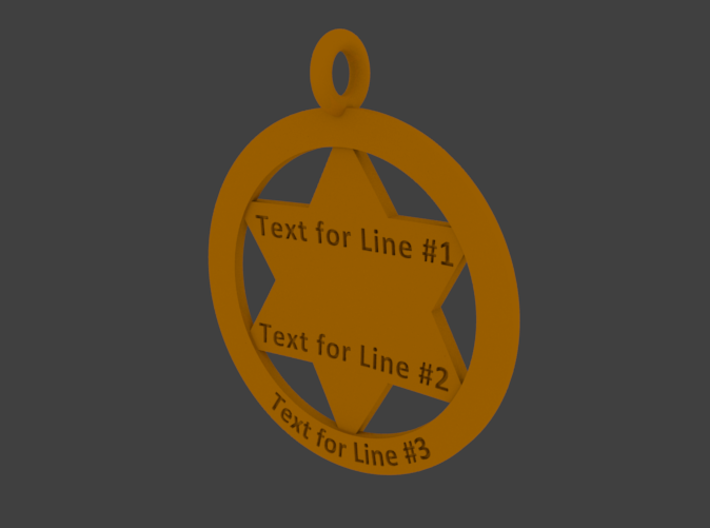Sheriff's Star (6-point) Pet-Tag/Pendant (Thinner) 3d printed Rendering of back side