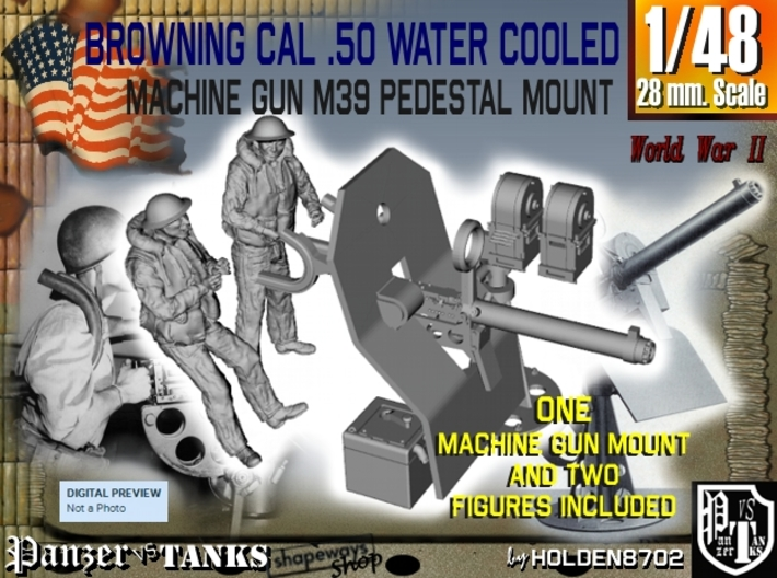 1-48 USN Cal 50 WC Mount M39 & Crew Set 3d printed