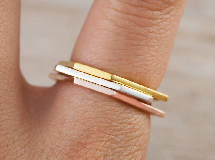 Squashed Hex Ring Sizes 6-12 3d printed Rose Gold, Gold and Rhodium plated