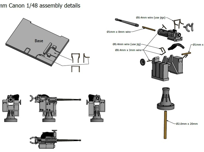 25mm Cannon kit x 1 - 1/48 3d printed