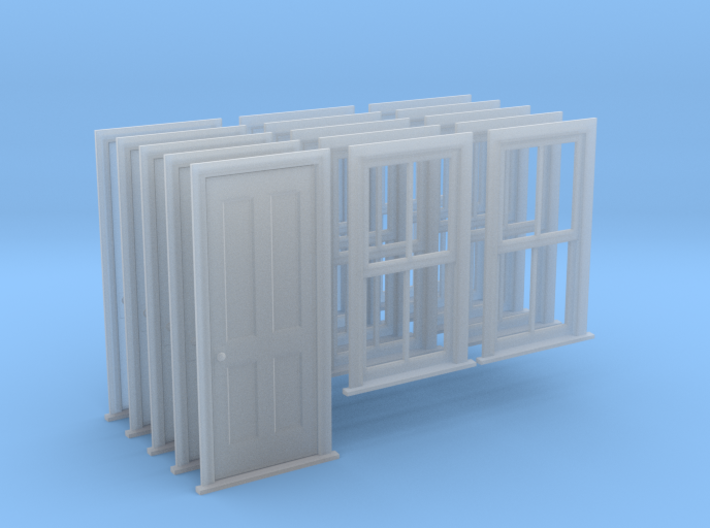 O Scale Bunkhouse Door And Windows 5 Sets 3d printed