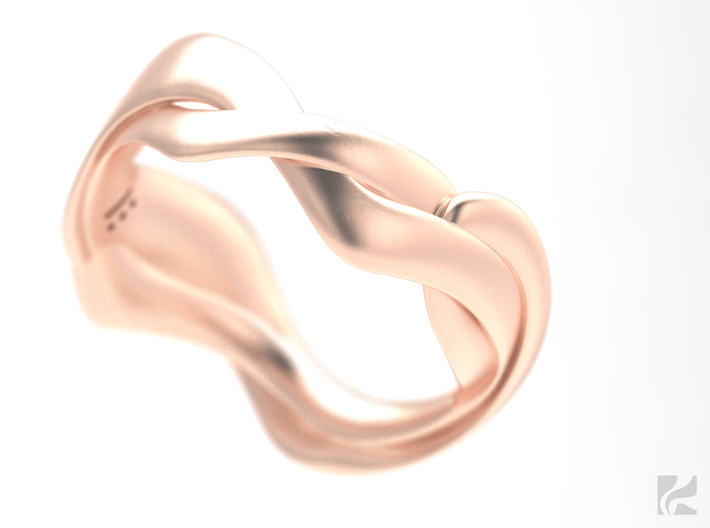 Smooth Weave Ring 3d printed Rose Gold