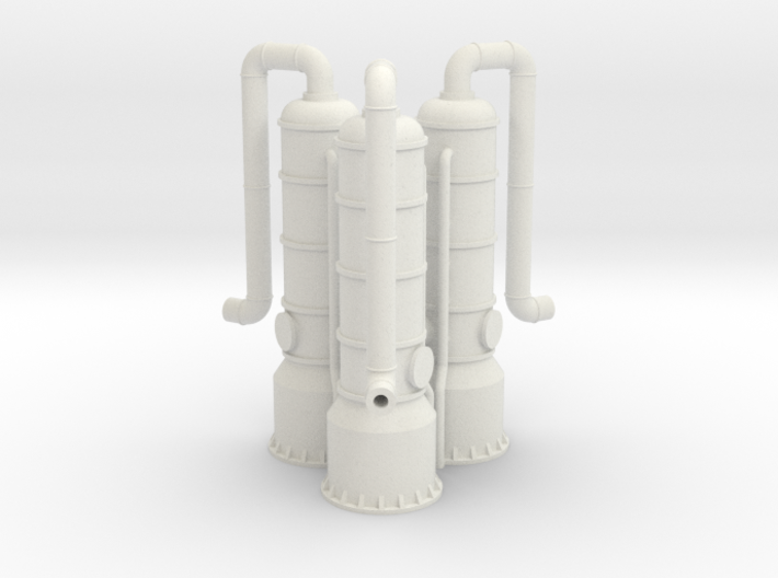 N Scale 3x Exhaust Gas Scrubber 3d printed
