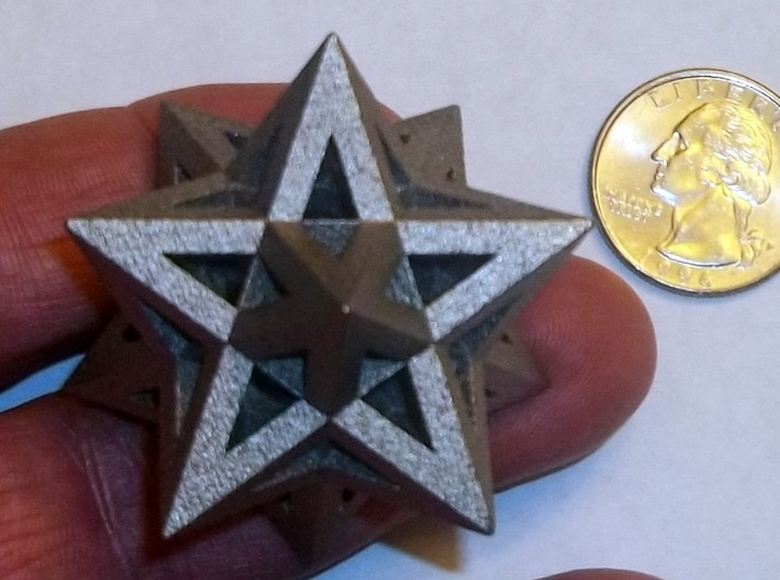Stellated Dodecahedron 3d printed Stellated Dodecahedron in polished nickel steel