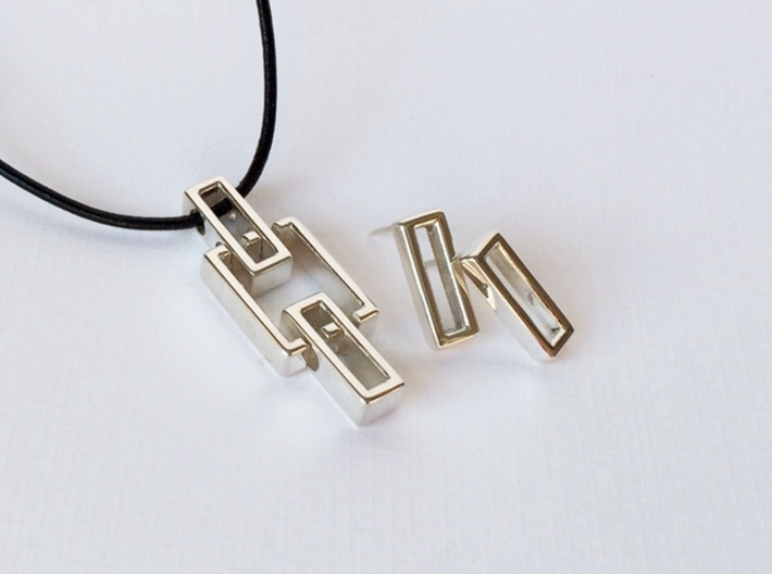 Geometric Pendant (sm) - Interlocking Rectangles 3d printed Pair your pendant with Rectangle Stud Earrings