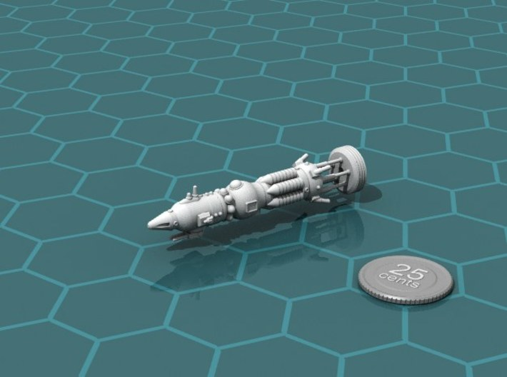 """USSR """"Crowfoot"""" class Heavy Cruiser 3d printed Render of the model, with a virtual quarter for scale."""