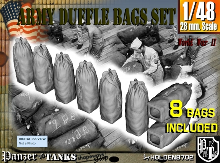 1-48 Army Duffle Bags Set1 3d printed