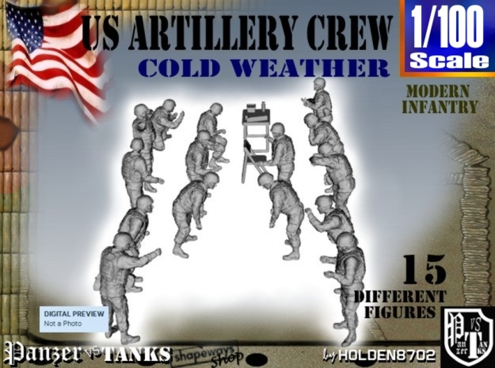 1-100 US Artillery Crew Cold Weather 3d printed