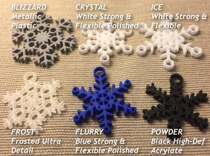 Ice Snowflake Earrings 3d printed Samples of available styles and materials