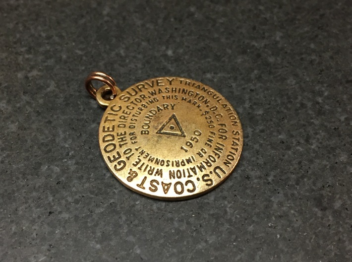 Triangulation Station Keychain Position 3 3d printed Raw bronze with custom text and patina.