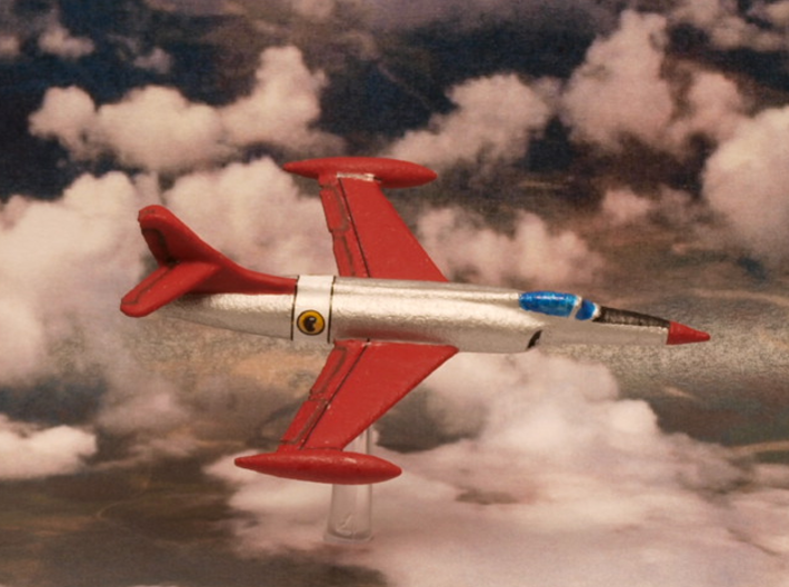 Lockheed XF-90 Pair (In Flight/Fuel tanks) 1/285 3d printed Penetration fighter Lockheed XF-90 painted In the Blackhawks squadron livery (DC Comics)