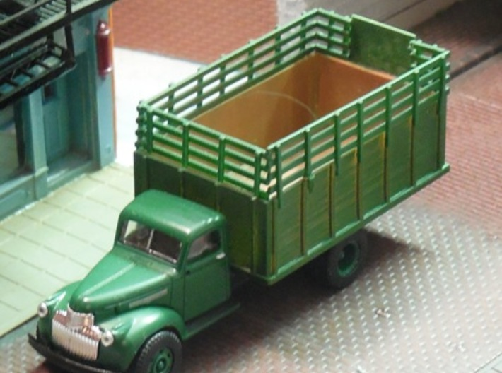 Grain Body with Livestock Racks 3d printed Shown assembled on a '41-'46 Chevrolet with livestock racksin use by adding a small piece of sheet material.