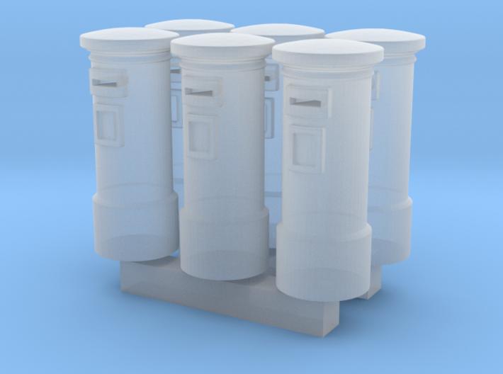 6pcs: N/OO Scale English Post Box 3d printed