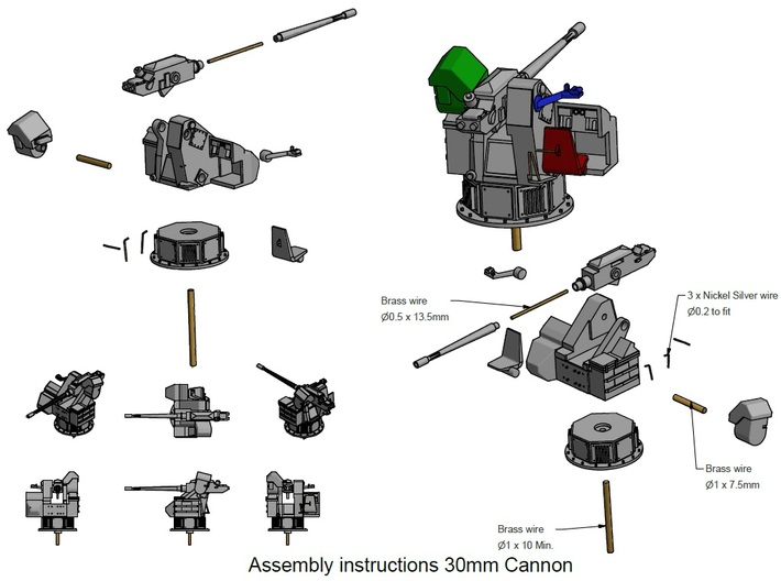 30mm Cannon kit x 2 - 1/96 3d printed