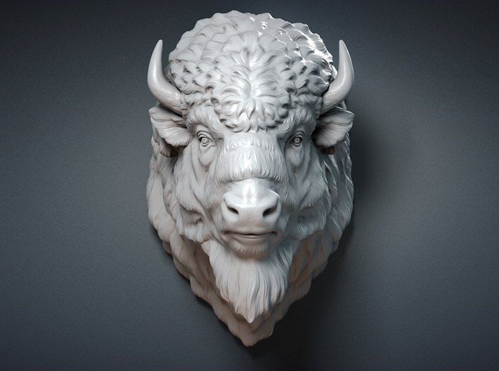 Bison Head Wall Mount 3d printed