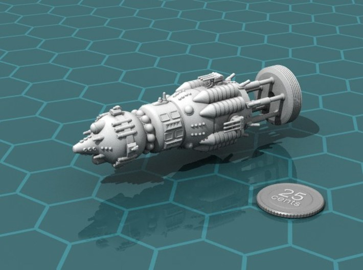 "USSR ""Brute"" class Battleship 3d printed Render of the model, with a virtual quarter for scale."