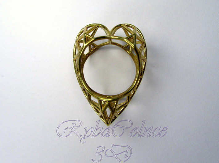 The Diamond Heart ring size 7 1/2 US (17.75 mm) 3d printed