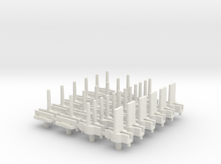 "NEW! Tyco ""S"" Pins - for HO Slot Cars 3d printed Set of 24 pins shown in White Strong & Flexible"