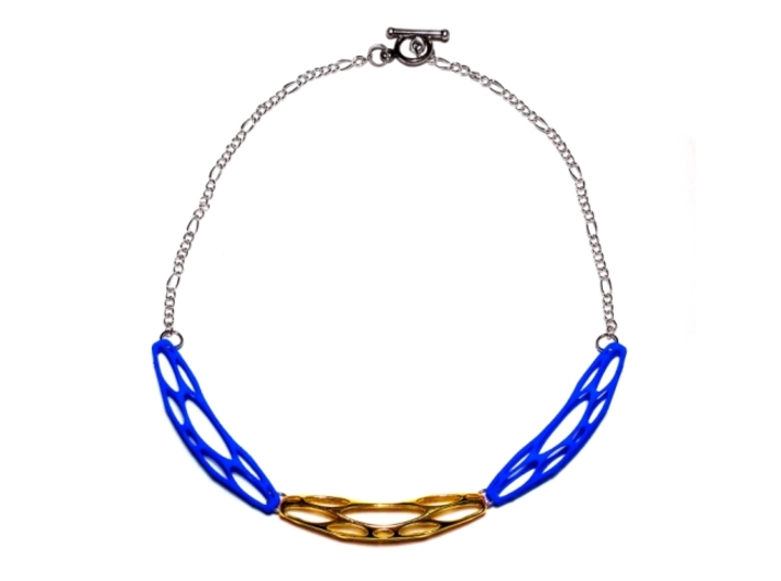 FutureForm Necklace 3d printed Gold Plated Brass + Royal Blue Strong & Flexible Polished