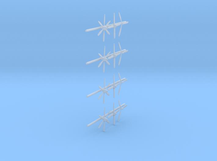 144-H0130: 12 Propellers in 3 types 1:144 3d printed