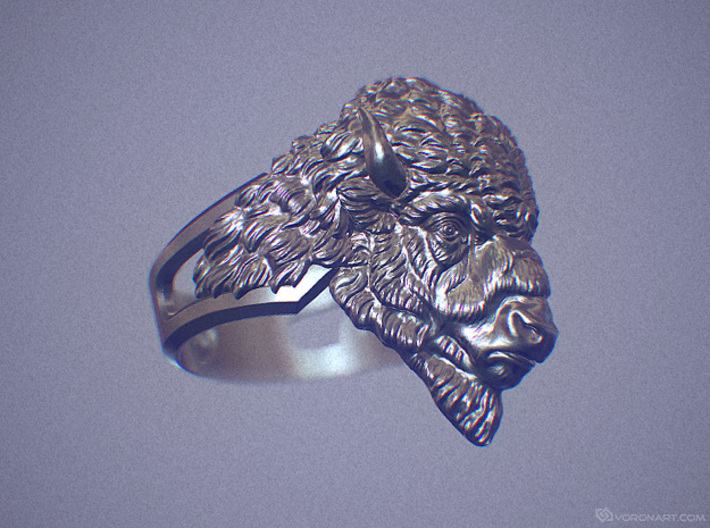 Bison Head Ring 3d printed Digital preview, not a photo. How will look your ring depends on kind of metal you chose