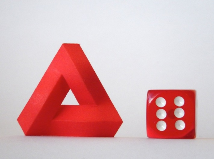 Impossible Triangle, Compact 3d printed Coral Red Strong & Flexible