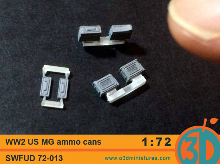 WW2 US MG Ammo Cans 1/72 scale SWFUD 72-013 3d printed FUD print painted grey to show detail, thumb for size reference