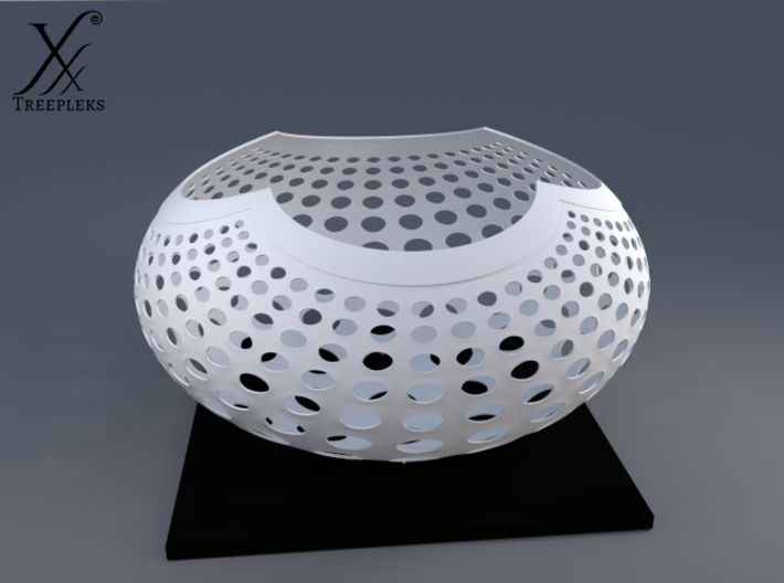 """A la Vasarely"" Bowl (20 cm) 3d printed Cycle render in White (also printable in black)."