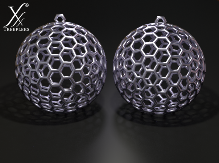 Polyhedron Cage Earring 3d printed Silver, cycle render.