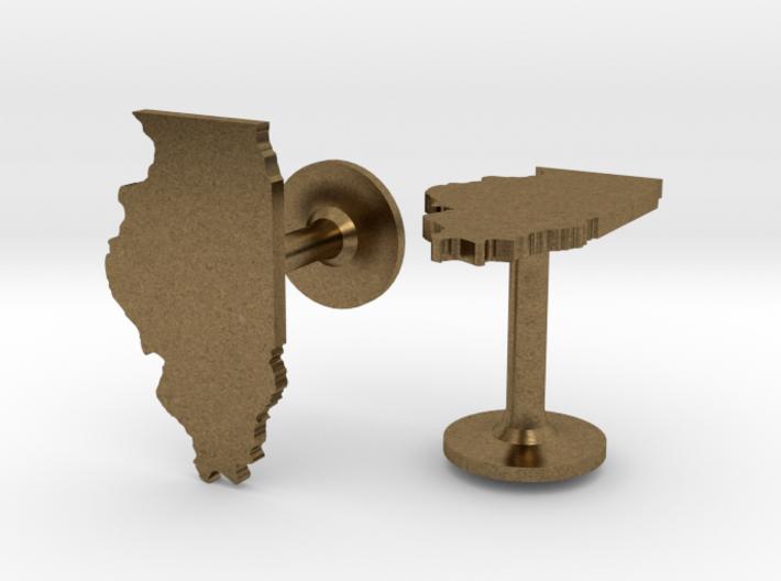 Illinois State Cufflinks 3d printed