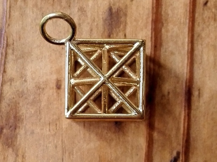 Metatron's Cube with ring 3d printed Polished Brass